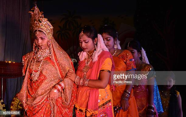 Artists perform the traditional Ramleela Drama narrating the life of Hindu God Rama on stage during celebration to mark Dussehra Festival at...