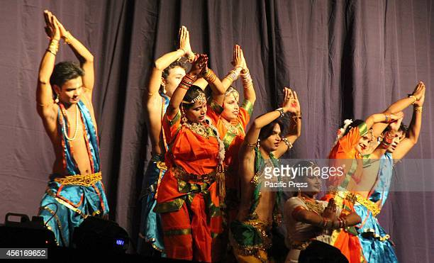 Artists perform the traditional Ramleela Drama narrating the life of Hindu God Rama on stage during the celebration to mark Dussehra Festival at...