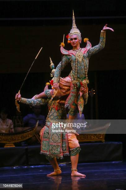 Artists perform to Thai traditional music within the Thai Cultural Events at Ahmed Adnan Saygun Arts Center In Izmir Turkey on October 02 2018...