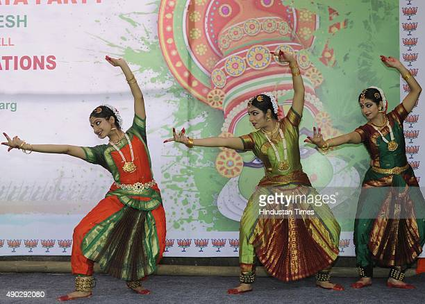 Artists performing cultural programmes as Delhi BJP's South Indian workers celebrated Onam 2015 at Delhi BJP Party office on September 27 2015 in New...