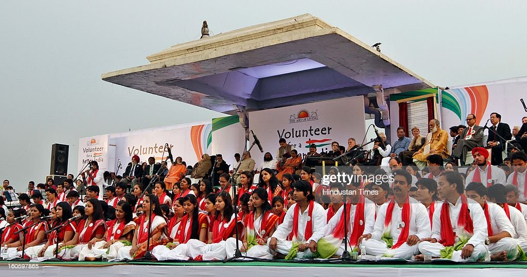 Artists performing during the launch of 'Volunteer for a Better India' helpline programme in collaboration with UNICEF and other UN bodies on February 3, 2013 in New Delhi, India. Ravishankar said the helplines would be used to provide counselling, medical help and legal aid for persons in distress.