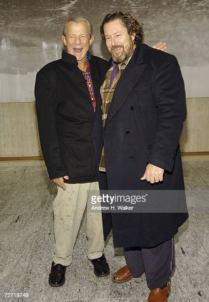 Artists Peter Beard and Julian Schnabel attend Julian Schnabel's unveiling of eight new works at the MetLife Building December 4 2006 in New York City