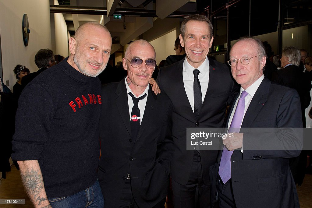 Artists 'Pierre et Gilles', jeff Koons and Daniel Templon attend the 'Societe des amis du Musee D'Art Moderne' : Annual Dinner. Held at Centre Pompidou on March 11, 2014 in Paris, France.