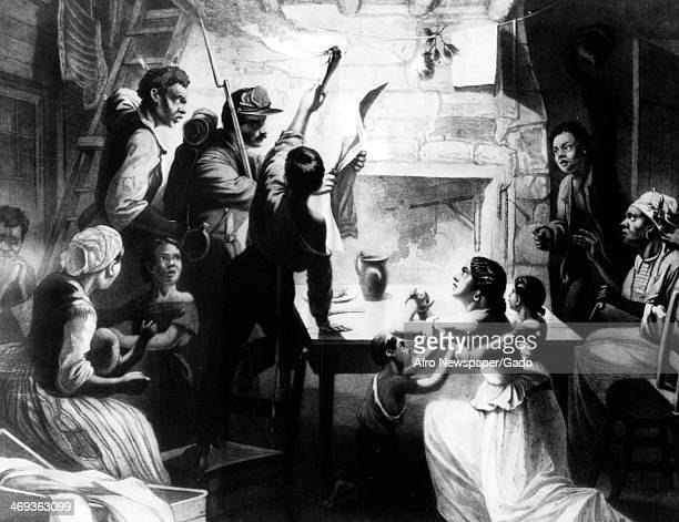Artist's portrait of Union solider reading Abraham Lincoln's Emancipation Proclamation to a slave family, 1863.