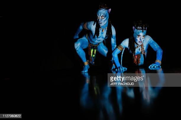 Artists pose before performing on stage in the Cirque du Soleil show called Toruk The First Flight on February 23 2019 in Lyon Halle Tony Garner The...
