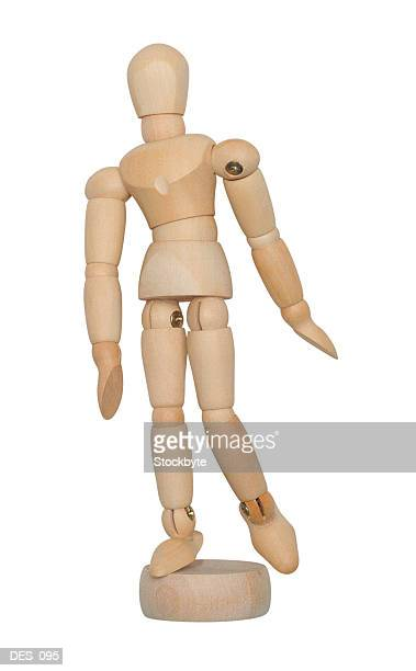 artist's poseable mannequin, front view - desk toy stock photos and pictures