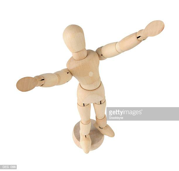 artist's poseable mannequin, top view - desk toy stock photos and pictures