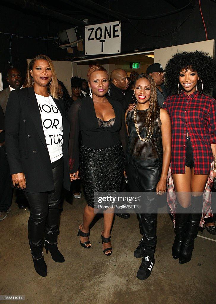 Artists Queen Latifah, Yo-Yo, MC Lyte and Brandy pose backstage at the BET Hip Hop Awards 2014 at Boisfeuillet Jones Atlanta Civic Center on September 20, 2014 in Atlanta, Georgia.