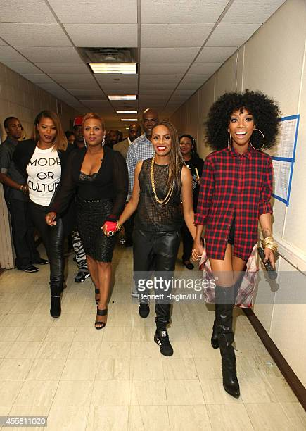 Artists Queen Latifah YoYo MC Lyte and Brandy pose backstage at the BET Hip Hop Awards 2014 at Boisfeuillet Jones Atlanta Civic Center on September...