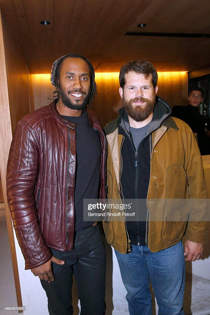 Artists Rashid Johnson and Matthew Day Jackson attend the 'New American Art', Exhibition of Artists Matthew Day Jackson and Rashid Johnson, Opening Cocktail at Studio des Acacias on October 20, 2015 in Paris, France.
