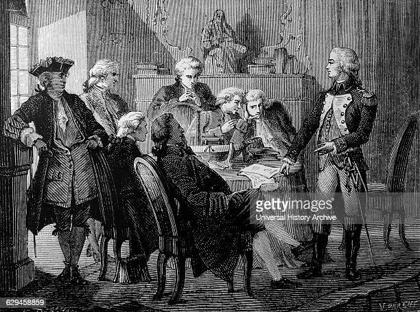Artist's reconstruction of a meeting held at the house of the Marquis Ducrest to discuss the Marquis de Jouffroy d'Abbans's plans for a steam engine...