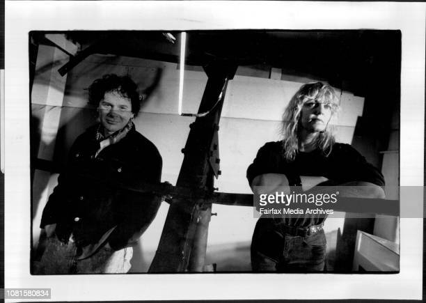 Artists Samuel E Spade and JacquelineEyers at the Glebo Studio***** Surrounded by giant studio lights and a piece of obsolete sound equipmentMcInnes...