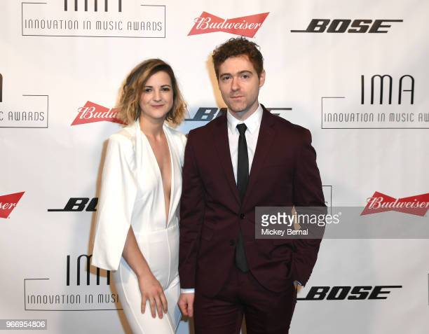 Artists Sarah Zimmermann and Justin Davis of musical group Striking Matches attend the Innovation In Music Awards on June 3 2018 in Nashville...