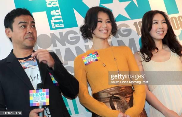 Artists Sean Lau Chingwan Myolie Wu Hangyee and JJ Jia Xiaochen attend a press conference of the Hong Kong Asian Film Festival 2011at the Miyabi Tsim...