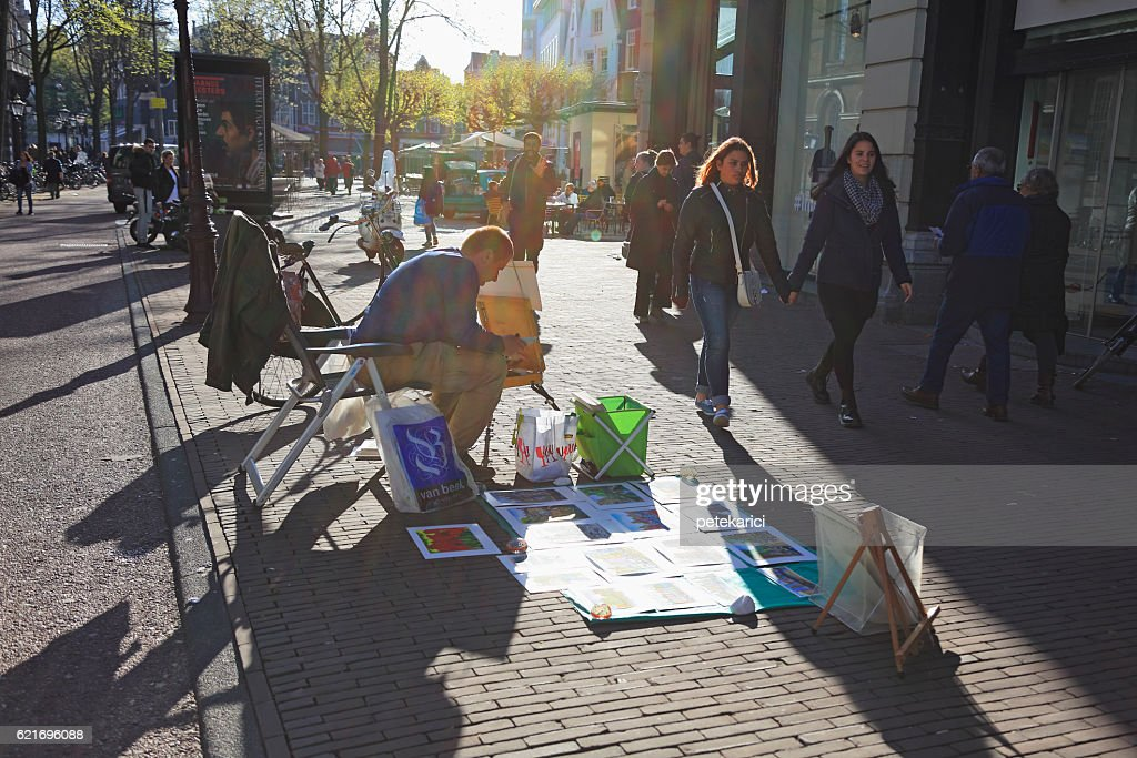 Artists Selling Paintings Amsterdam Netherlands Stock Photo