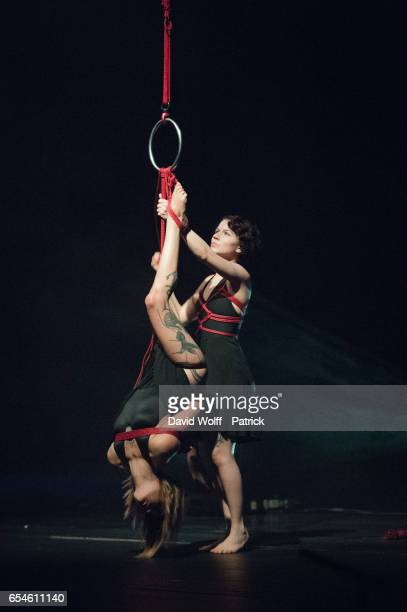 "Artists Shibari and Eris Misseris perform ""Study On Falling"" by Marika Leila Roux before Asaf Avidan Show at Opera Palais Garnier on March 17, 2017..."