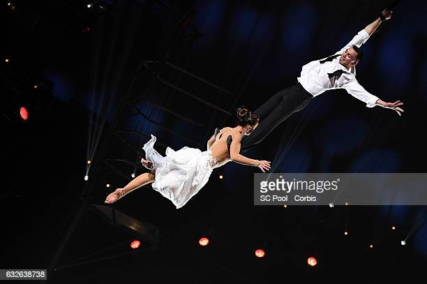 Artists Sky Angels winner of a Golden Clown award perform during the gala of the 41st MonteCarlo International Circus Festival on January 24 2017 in...
