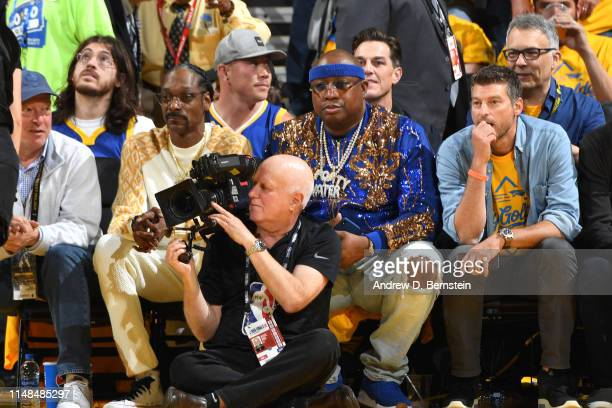 Artists Snoop Dogg and E40 watches the game court side during Game Four of the NBA Finals on June 7 2019 at ORACLE Arena in Oakland California NOTE...