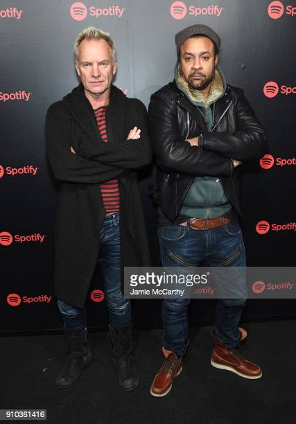 Artists Sting and Shaggy attend Spotify's Best New Artist Party at Skylight Clarkson on January 25 2018 in New York City