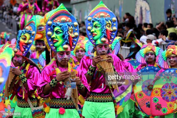 Artists take part in the comparsas during the parade of Song to the Earth and Choreographic Collectives to commemorate the Andino mother land and...