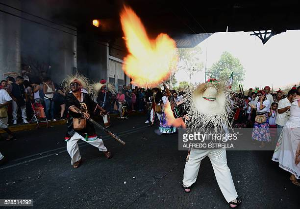 Artists take part in the reenactment of the Battle of Puebla Mexico's victory over France in 1862 during its anniversary celebration at Penon de los...