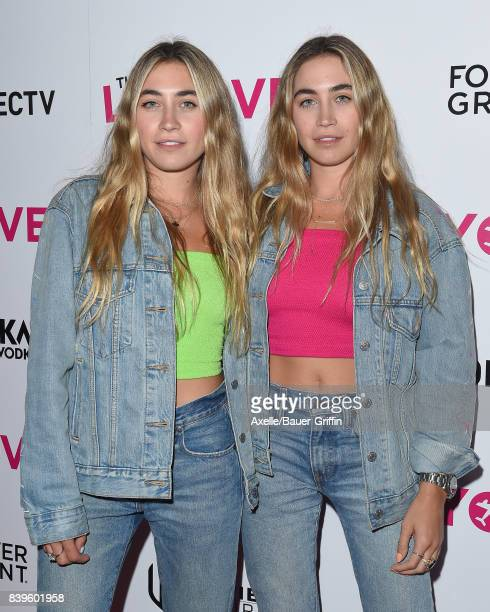 Artists The Kaplan Twins arrive at the Los Angeles Premiere of 'The Layover' at ArcLight Hollywood on August 23 2017 in Hollywood California
