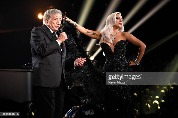 Artists Tony Bennett and Lady Gaga onstage during The 57th Annual GRAMMY Awards at the STAPLES Center on February 8 2015 in Los Angeles California