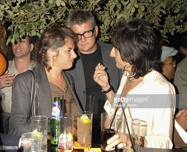 Artists Tracey Emin Jay Jopplin and musician Ronnie Wood attend the Rolling Stones after show party at Wood's home on August 20 in Kingston England