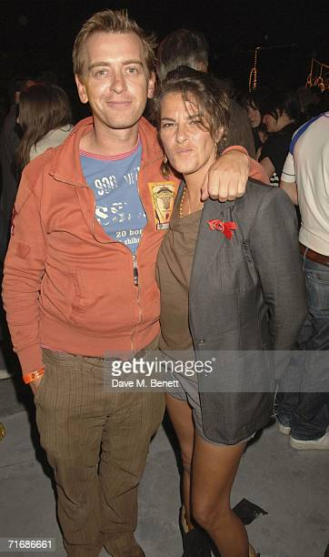 ArtistTracey Emin and guest attend the Rolling Stones after show party at Ronnie Wood's home on August 20 in Kingston England
