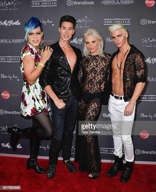 Artist/TV personality Sham Ibrahim Human Ken Doll Justin Jedlica model Ava Capra and model Brandon Cole Bailey attend Ava Capras 21st birthday...