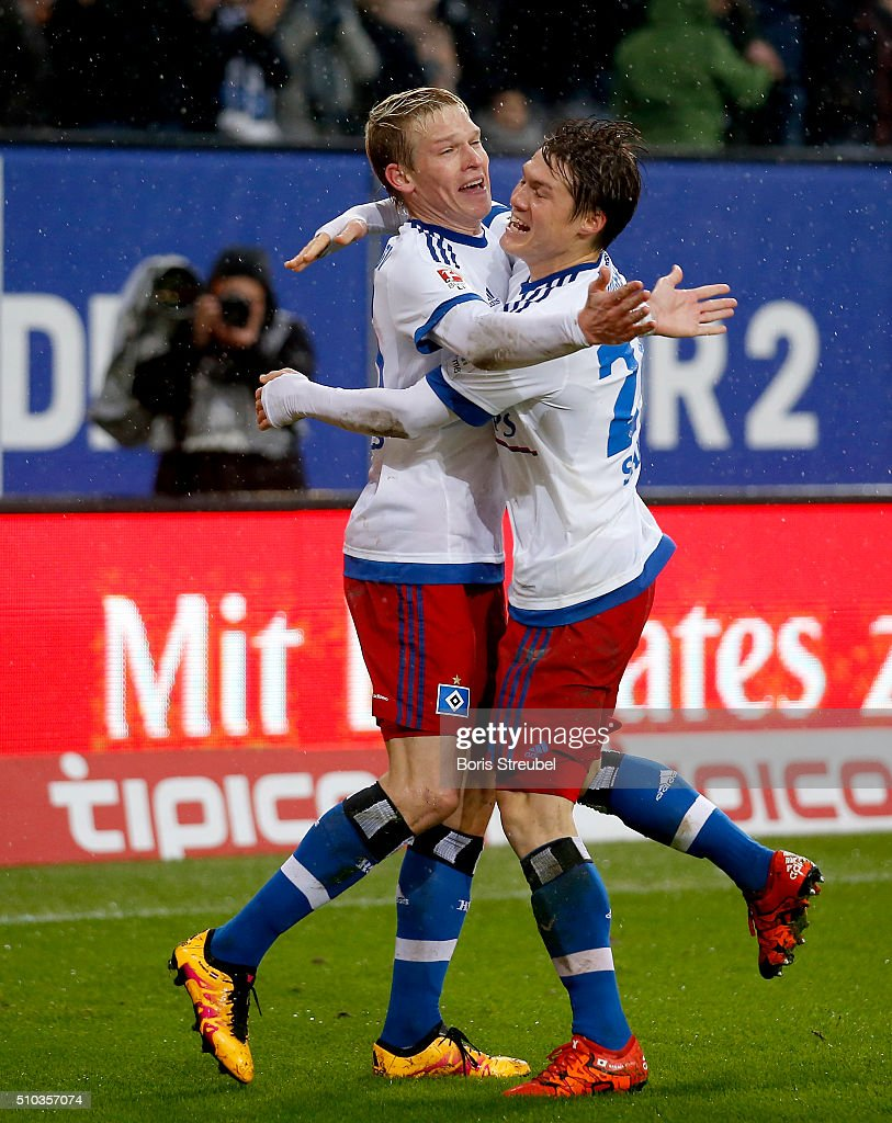 Artjoms Rudnevs of Hamburg celebrates after scoring his team's second goal during the Bundesliga match between Hamburger SV and Borussia Moenchengladbach at Volksparkstadion on February 14, 2016 in Hamburg, Germany.