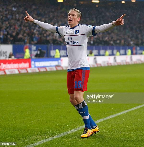 Artjoms Rudnevs of Hamburg celebrates after scoring his team's second goal during the Bundesliga match between Hamburger SV and Borussia...