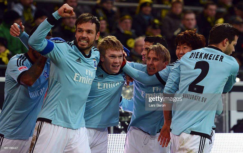 Artjoms Rudnevs of Hamburg celebrates after scoring his teams third goal during the Bundesliga match between Borussia Dortmund and Hamburger SV at Signal Iduna Park on February 9, 2013 in Dortmund, Germany.