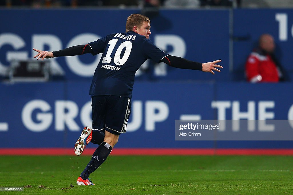 Artjoms Rudnevs of Hamburg celebrates his team's second goal during the Bundesliga match between FC Augsburg and Hamburger SV at SGL Arena on October 26, 2012 in Augsburg, Germany.