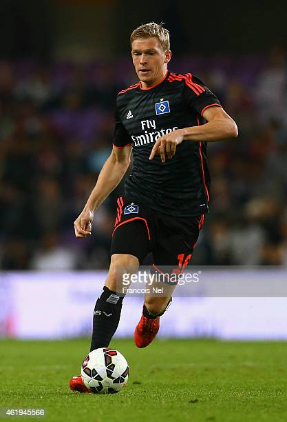 Artjons Rudnevs of Hamburg in action during the friendly match between Hamburg SV and Manchester City at Hazza bin Zayed Stadium on January 21 2015...