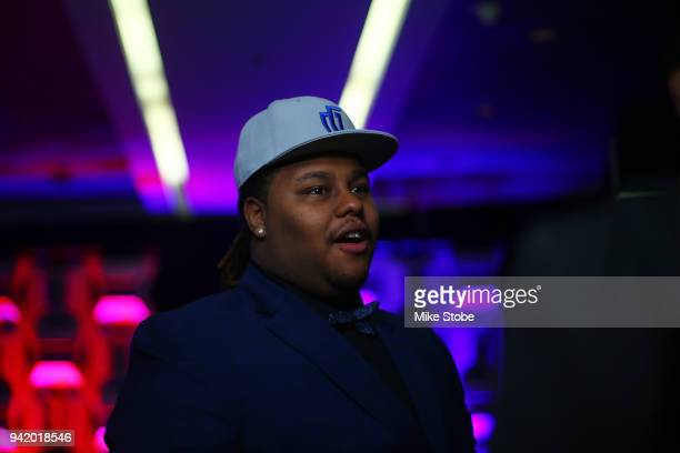 Artreyo Boyd is interviewed after being drafted overall in the first round by Mavs Gaming during NBA 2K League Draft at Madison Square Garden on...