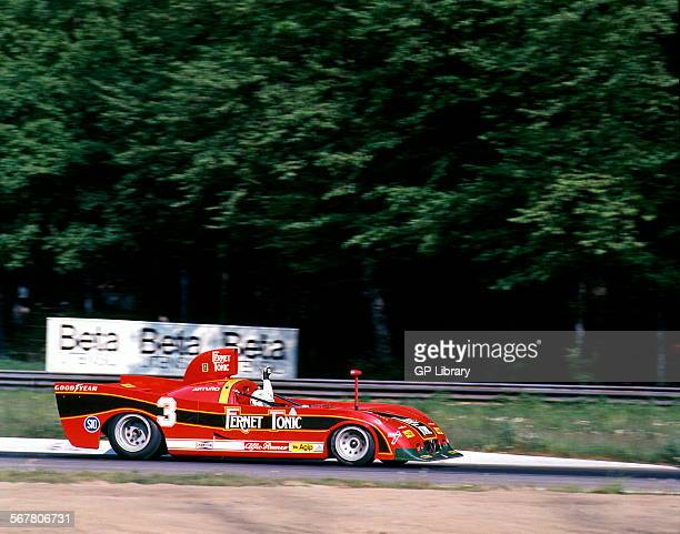 Artruro Merzario in an Alfa Romeo T33SC12 racing at Monza Italy 24 April 1977