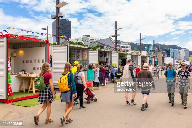 arts and crafts stalls in wellington, new zealand - wellington new zealand stock pictures, royalty-free photos & images