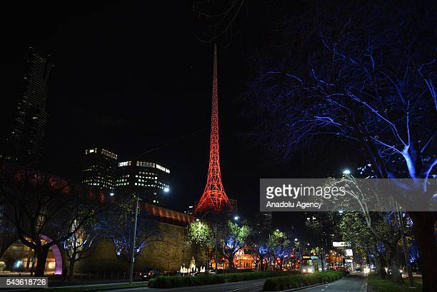Arts Centre of Melbourne building lit up in the colours of the Turkish national flag after Australian Prime Minister Malcolm Turnbull and Australian...