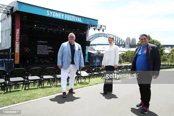 Arts Minister Don Harwin, Sydney Symphony Orchestra CEO Emma Dunch and Sydney Festival Director Wesley Enoch pose during a media preview of The...