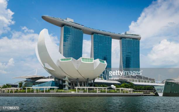 artscience museum and marina bay sands hotel in  singapore - marina bay sands stock photos and pictures