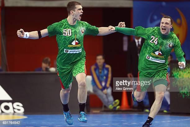 Artsem Karalek of Belarus celebrates a goal Maksim Baranau during the 25th IHF Men's World Championship 2017 match between Saudi Arabia and Belarus...
