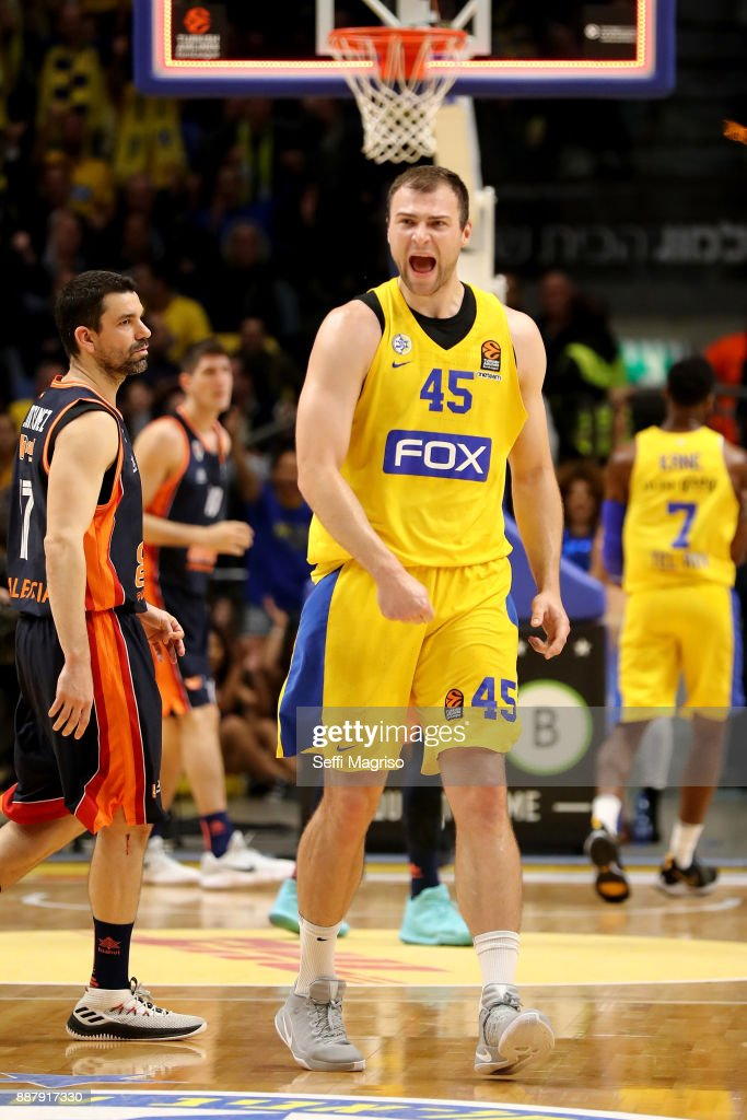 Artsiom Parakhouski, #45 of Maccabi Fox Tel Aviv celebrating during the 2017/2018 Turkish Airlines EuroLeague Regular Season Round 11 game between Maccabi Fox Tel Aviv and Valencia Basket at Menora Mivtachim Arena on December 7, 2017 in Tel Aviv, Israel.