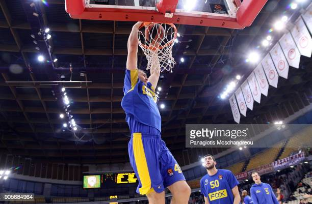 Artsiom Parakhouski #45 of Maccabi Fox Tel Aviv warm up before the 2017/2018 Turkish Airlines EuroLeague Regular Season Round 18 game between...