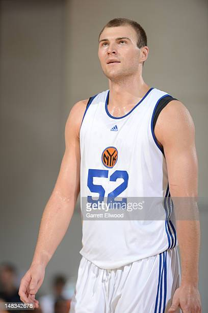 Artsiom Parakhouski of the New York Knicks versus the Memphis Grizzlies during NBA Summer League on July 14 2012 at Cox Pavilion in Las Vegas Nevada...