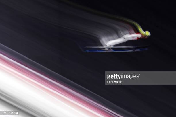 Arttu Maekiaho of Finland jumps during the Nordic Combined Individual Gundersen Large Hill Ski Jumping competition round on day eleven of the...