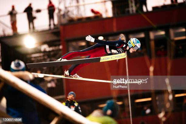 Arttu Pohjola soars in the air during the men's large hill team competition HS130 of the FIS Ski Jumping World Cup in Lahti, Finland, on February 29,...