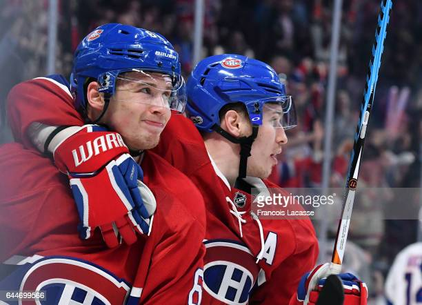 Artturi Lehkonen and Brendan Gallagher of the Montreal Canadiens reacts after a goal was refused against of the New York Islanders in the NHL game at...
