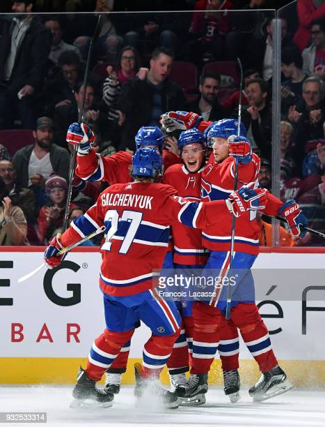 Artturi Lehkonen Jacob De La Rose and Alex Galchenyuk of the Montreal Canadiens celebrate a goal against the Dallas Stars in the NHL game at the Bell...