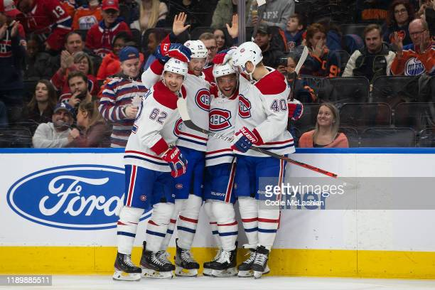 Artturi Lehkonen Jeff Petry Max Domi and Joel Armia of the Montreal Canadiens celebrate a goal against the Edmonton Oilers at Rogers Place on...